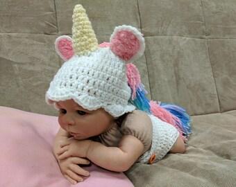 crochet unicorn hatunicorn outift photo propsnewborn unicorn outfitnewborn photo props