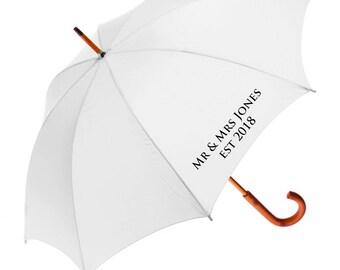 Two Personalised Wedding Umbrellas