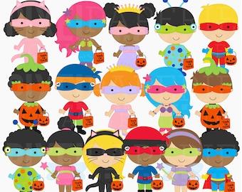 halloween clipart digital clip art trick or treat - Trick or Treat Kids Digital Clipart - BUY 2 GET 2 FREE