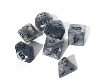 Gunmetal Pearl Dice set - Silver Pearl Dice set - Dungeons and Dragons dice - Polyhedral dice - Pathfinder