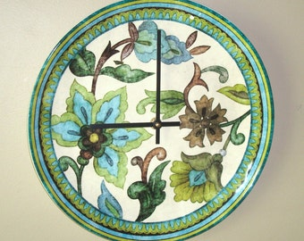Earthenware Plate Clock in Rustic Shades of Blue, Green and Brown / Floral Kitchen Clock / Unique Wall Clock / Unique Wall Decor / 1709