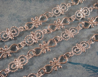38in Silver Handmade Chain Silver Plated Butterfly Links, Cross Links and Rings Textured Chain Not Soldered - 3 ft 2 in - STR9039CH-S38
