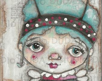 Original Folk Art Mixed Media Whimsical Painting on Wood for Girls -Fierce