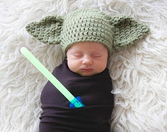 Yoda Hat, Newborn Photo Prop, Crochet Hat, Yoda Crochet Hat, Newborn Hat, Star Wars Hat