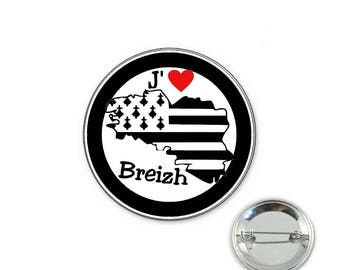 Brittany badge - I love breizh - o32mm pin