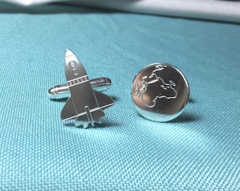 Space exploration - silver cufflinks with space shuttle and planet earth