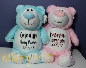 Ring Bearer and Flower Girl Gift Set - Cubbies Stuffed Animal - Wedding Party Gifts Ring Bearer Gift Flower Girl Gift Bridesmaid Gift