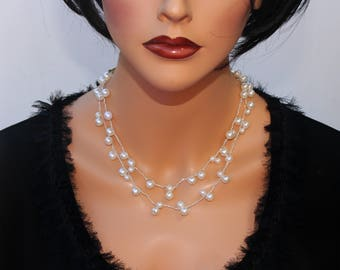 Pearls Crochet Illusion Necklace Set Elegant Unique Pearls Bridal Necklace Earrings Set Delicate Stylish Floating Pearls Wedding Jewelry Set