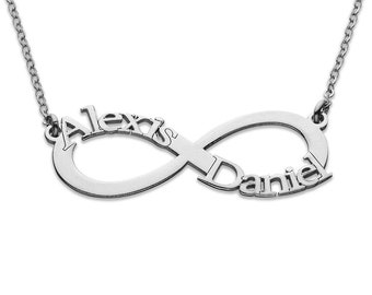 Infinity Name Necklace - Sterling Silver - Custom Name Necklace - Nameplate Necklace - Personalized Name Jewelry - Name Necklace