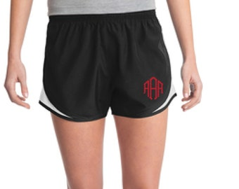 Black & White Monogrammed Shorts, Personalized Running Shorts, Work Out Shorts, Gym Shorts, Monogrammed Running Shorts, Personalized Shorts
