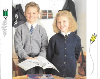 Original Patons booklet - School Classics in Double knitting.  Cardigans, jumpers, waistcoats, cricket jumper.  Size 22-40 ins
