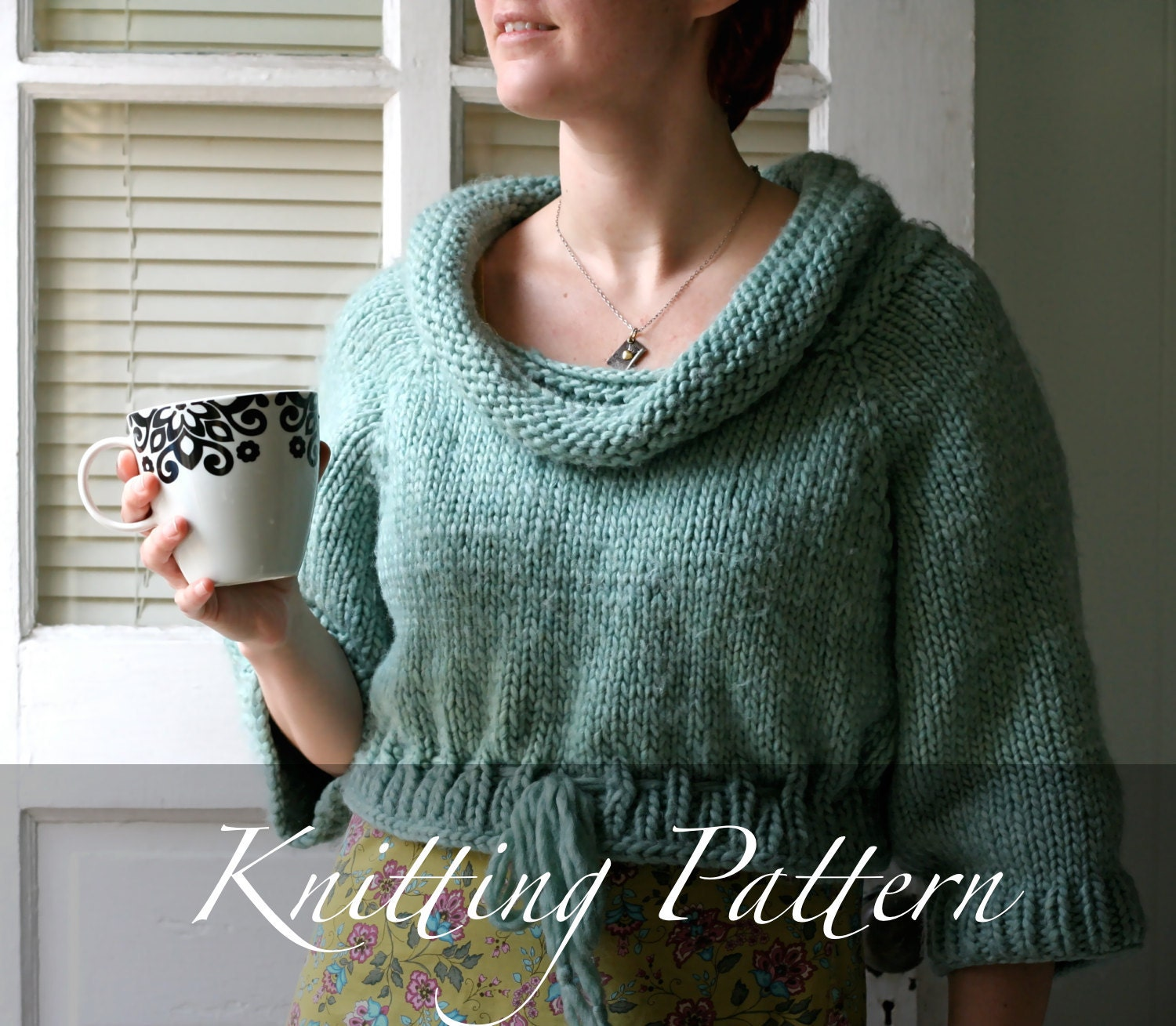 Knitting Pattern - The Cozy Cropped Pullover - Boatneck Sweater ...