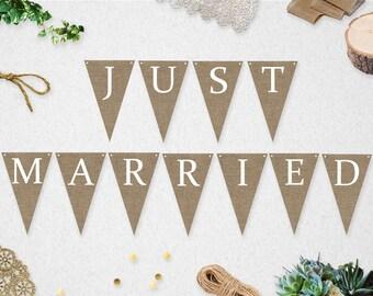 Just Married Banner // INSTANT DOWNLOAD // Printable // Wedding // Photo Prop // Burlap // Rustic // #PBP92