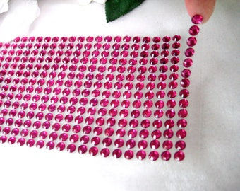 Fuchsia Rhinestone Strips Self Adhesive 6 mm Circle Bling Stickers 504 pieces - Wedding Favor Boxes, DIY iphone, Card Making, Embellishment