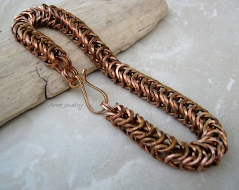 Solid Bronze Bracelet, Bronze Chainmaille Bracelet, Men's Large Chain Bracelet, Chunky Bracelet, Bronze Bracelet, Rugged Bracelet, Arret