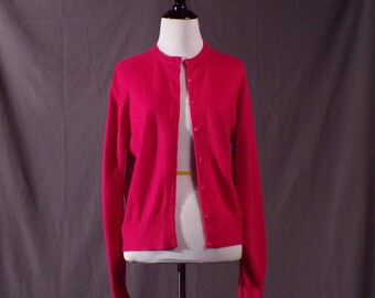 Vintage 1960s Cardigan - Hot Pink Super Soft Orlon Cardigan. As Is.