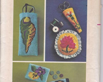 FREE US SHIP Butterick 4572 Vintage Retro 1970s 70s Sewing Pattern Needlepoint Transfer Factory Folded EmbroideryShel Flower Butterly