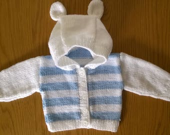 Hand Knitted Baby Boys Hooded Cardigan with Ears Newborn
