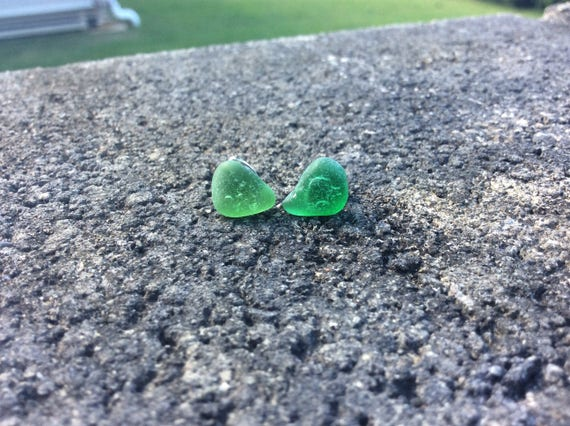 Surf Tumbled, Kelly Green Seaglass Stud Earrings