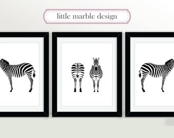 Zebras Print: Black and White, Print Set, Animal Art, Three Print Set, Zebra, 8x10 Print, Animal Art, Animal Print