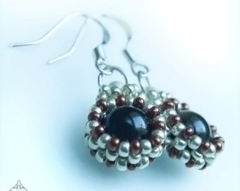 Hand Made Seed Bead and Obsidian Earrings