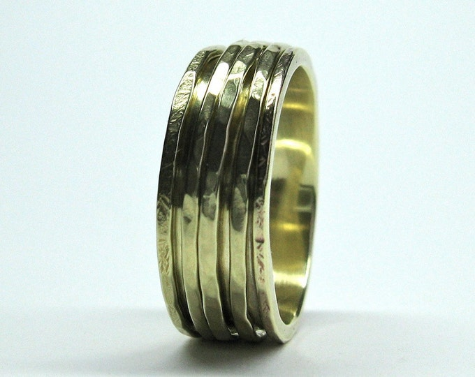 10K Yellow Gold Five Band Spinning Wedding Ring