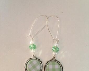 gingham vintage Silver earrings