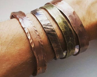 Rustic hand forged hammered cuff bracelet in brass, copper, bronze, iron or stainless steel