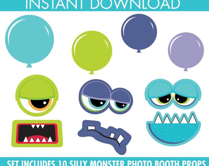 Monster Photo Booth Props - Monster Party, Monster Inc, Monster Theme Party -  Instant Download PDF with 10 DIY Printable Props