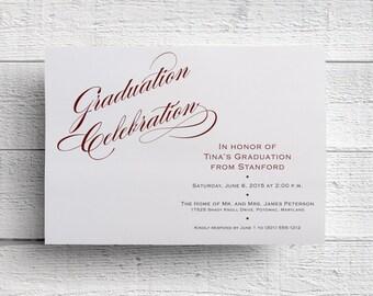 Graduation Party Invitation, College Graduation Invite, High School Graduation, Class of 2017, Commencement Celebration