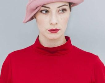 "felt hat, cloche, wool felt, vintage style, dusky pink, winter hat, 30ies style, ""KATTY"""
