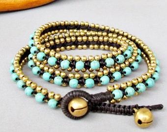 Charm Triple Wrap Bracelet with Turquoise Stone  and Brass Bead W175