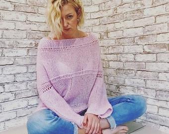 innocent pink sweater oversize women's sweater sweatshirt sweetshirt street style jacket women's handmade clothing pale pink cloud
