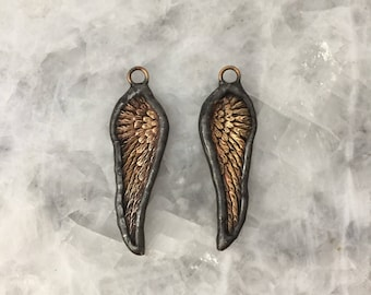 """Soldered Pendant, Angel Wing Rustic Charm, 2+1/4"""", Raw Brass, Lead Free, Hand Made"""