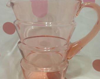 RARE Dunbar Blown Glass Pink Pitcher, Dunbar Glass Company