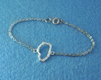 Silver Illinois Bracelet, Custom Map Bracelet, Personalized Illinois Map Bracelet, Anniversary Gift, Illinois jewelry,Illinois pendant