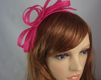 Fuchsia Hot Pink Sinamay Loop & Leaf Fascinator with Feathers - Occasion Wedding Races
