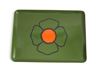 Vintage Capri Japan Lacquer Ware Serving Tray Green with Orange Flower