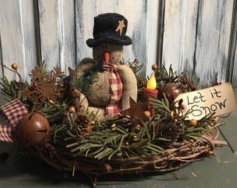 12 inch primitive country Christmas snowman centerpiece