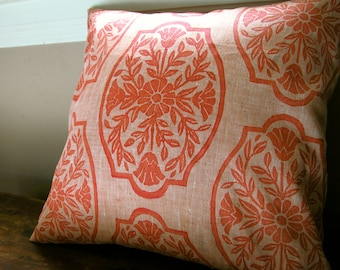 Coral Chinoiserie hand block printed floral home decor decorative peach linen colorful pillow cover