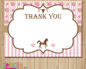 Horse Birthday Thank You Card, Horse Thank You Card, Saddle Up Thank You Card