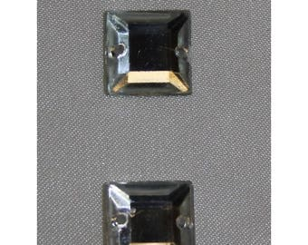 square rhinestone - 12 mm - silver