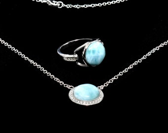 Larimar Necklace And Ring Set. White Sapphire Accents .925 Sterling Silver
