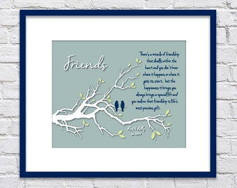 The Miracle of Friendship/ Friends Tree Branch with Birds/ BFF Gift/ Personalized Gift for Friend/ Established In - Sizes 8x10, 11x14, 12x16