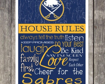 Buffalo Sabres House Rules 4 x 4.1/2 Magnet