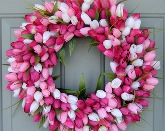 Spring Wreath - Spring Tulip Wreath - Spring Door Wreath