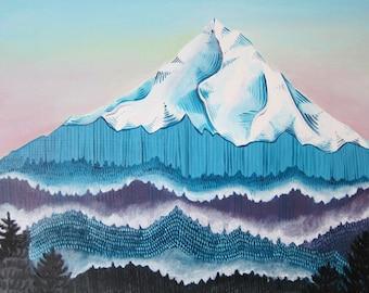 Art - Painting - Mt Hood Painting - Mt Hood Oil Painting - Oregon Art - Mountain Art - Mountain Painting - Mt Hood Art - Sunrise Over Hood