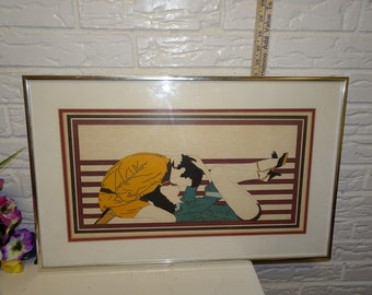 1976 Pop Art Deco Style Artwork, Signed R J, Couple, Kissing, Romantic Abstract Painting