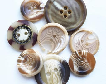 eco friendly swirling chocolate carmel candy bar colors buttons--mixed lot of 8