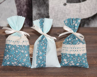 "Romantic set of 3 Lavender sachets ""Flowers"". Hand-made."